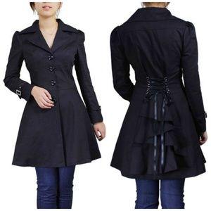 Jackets & Blazers - Plus Size Ruffle Lace Up Back Fitted Coat Jacket